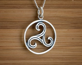 Celtic Triskelion - Triskele - STERLING SILVER - (Charm, Necklace, or Earrings)