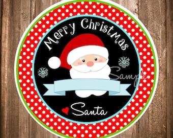 Santa Claus Stickers or Tags, Instant Download Holiday Stickers or Tags, Printable Santa Stickers, Digital Santa Labels, You Print