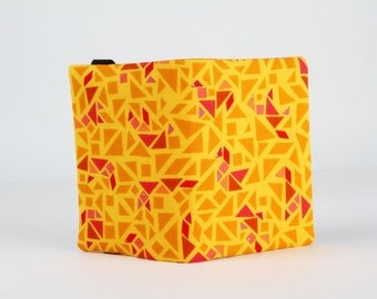 Fabric card holder - Puzzle in yellow / Geogram / Samarra Khaja / orange pink red metallic gold