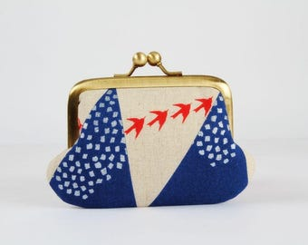 Metal frame purse with two sections - Hills in blue - Siamese daddy / Echino Japanese fabric / Two pockets / metallic silver / red birds