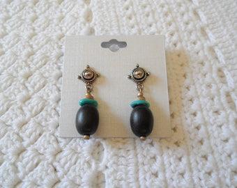 Silver Tone Turquoise Dark Brown Post Pierced Earrings