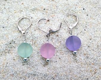 Sea Glass Crochet Stitch Markers - Knitting Stitch Markers - Removable Stitch Markers - 12mm pink lavender green beach glass - set of 6