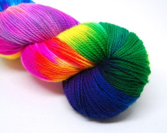 "Glam Rock Sparkle Sock Yarn - ""Milky Way"" -  Handpainted Superwash Merino - 438 Yards"