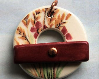 Autumn Garden Toggle Clasp - Jewelry Clasp - Large Ceramic Circle Focal Toggle Clasp - Pottery Clasp - Clay Clasp