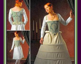 16th CENTURY UNDERGARMENTS-Designer Costume Pattern-Lace-Up-Boned Corset-Hoop Skirt-Farthingale- Shift-Bum Roll-Uncut-Plus Size 16-24-Rare