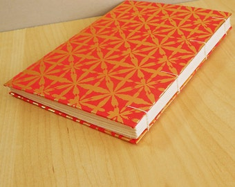 Star Crossed Journal Sketchbook, hand bound with gold stars print on red - 9x6.25 ins, A5 size