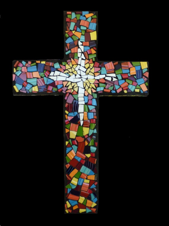 Mosaic China Tile Wall Cross Mosaic Wall Hanging, Religious Decor, Easter Gift, 20 Inch