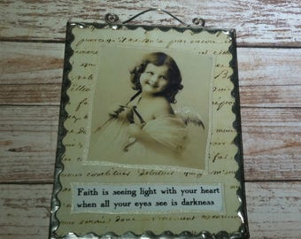 Angel Plaque Flat Glass Soldered Victorian Angel Girl Image With Glitter And Wire Hanger