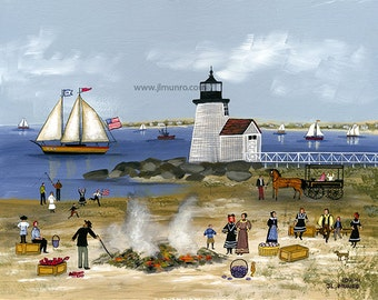 Clam Bake at Brant Point - Limited Edition Print _ by J.L. Munro