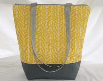 Yellow White Herringbone- Insulated Lunch Bag-Tote-Washable-Water and Mildew Resistant Interior -Extra Large-Tall Size