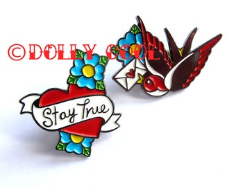 SPECIAL OFFER** Swallow Love Letter AND Stay True Tattoo Heart Enamel Pins Twin Pack by Dolly Cool