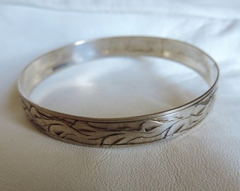 bangle bracelet sterling silver etched