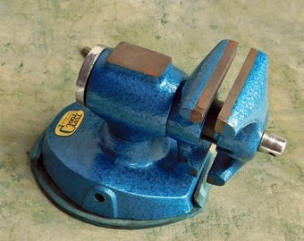 Vintage Tuff Tool Bright Blue Vice Suction Bottom - Circa 1970s Industrial Metal Workshop Tool - Man Cave Decor - Baked Enamel Finish