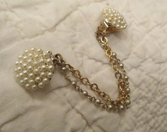 Vintage Sweater Clip sweater guard Faux Pearls