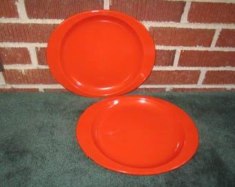 Vintage Mid Century Lot of 2 Red Enamelware Metal Dinner Plates with Tab Handles
