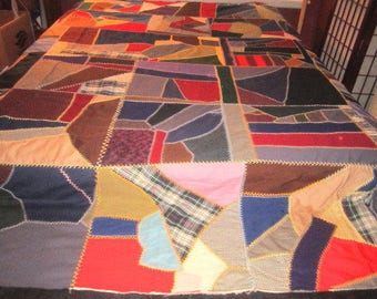 Vintage 1950s/60s Colorful Embroidered Crazy Quilt Top