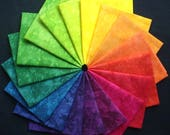 CUSTOM Listing for Mary, Summer in Sicily, 18 half yard pieces of hand dyed Pima cotton