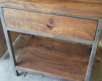 Your Custom Industrial Barn Wood and Metal End Table With a Drawer and an Open Shelf FREE SHIPPING-METD250F