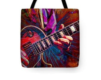 Electric Guitar Art Tote Bag, Red Purple, Stringed Music Instrument, Musician Bag, Reusable Uni-Sex Shopping, Carry-All Bag, School Tote