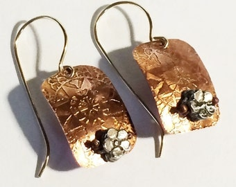 Etched Copper Earrings, Flower Earrings