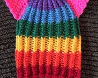 Rainbow Pussy Hat Knitted Beanie with Kitty Ears