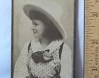 Antique Honest Long Cut Tobacco Card Photo Woman in Cowgirl Hat