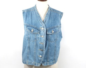 Jean vest Vintage 1990s Blue Denim  Women's size