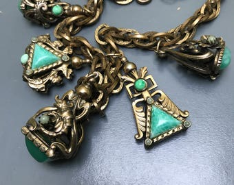 Vintage Victorian Revival necklace . Fob Charms . Peking Glass  . Gecko Lizard  . Costume jewelry