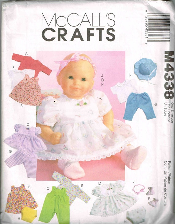 Baby doll sewing pattern mccalls 4338 jumper romper dress for 5 inch baby dolls for crafts