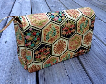 Gold hexagon fold over bag, gift for her, diaper bag organizer, floral nappy purse, diaper clutch with clear zipper pouch