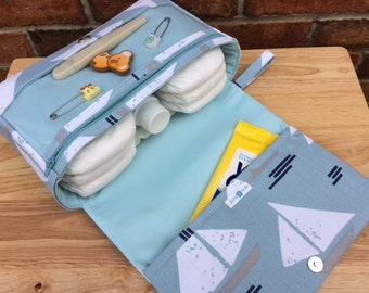 New and larger sailing boats diaper clutch, small diaper bag, spa blue baby bag with clear zipper pouch, baby shower gift for new parents