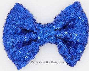 "5"" Royal Blue Sequin-Costume Bow-Sparkle Bow-Large Hair Bow"