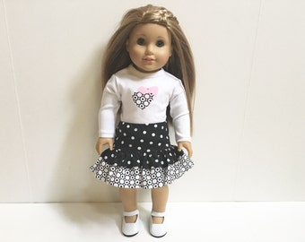 American Made Girl Doll Clothes -  2 Pc Hearts and Polka Dots Outfit Includes Shoes 18 Inch Doll Clothes