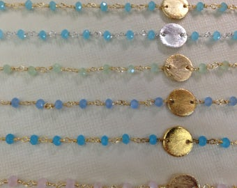 New Rosary Chain,, by the foot, Wire Wrap Chain, Gold or Silver Plated, Chalcedony, wholesale beaded chain with discs,  rc.30 wf