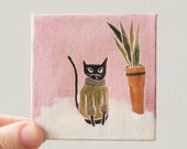 cat sweater + flokati rug / cat art, original small painting