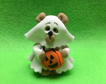 Polymer clay bear ghost