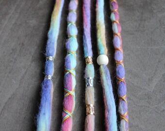 5 Tie-Dye (READY to SHIP) Clip-In Wool Dreads Wrapped & Beaded Bohemian Hippie Dreadlocks