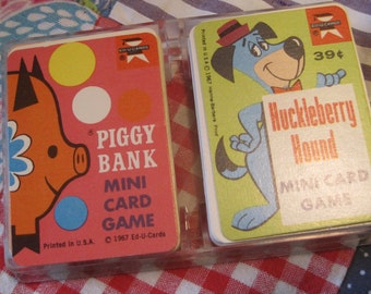 Double Plastic Box of Vintage 1960s Card Games by EduCards Piggy Bank and Huckleberry Hound