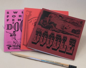 3 Doodle Coloring Books with Fun Black & White Prints and Sturdy Funky Red Covers