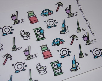 37 Chore Stickers / Housework Stickers / Planner Stickers ~ Great for your Erin Condren Life Planner/ Hand-drawn