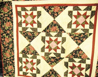 Cozy Throw quilt lap quilt sofa quilt wall hanging wheelchair quilt blanket floral tan burgundy