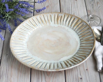 Dinnerware Set of Four Extra Large Dinner Plates in Creamy White Glaze Stoneware Handcrafted Carved Dishes Made in USA