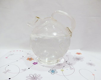 vintage antique pitcher jug, etched glass, 1940's, ball shape pitcher, very good condition, vintage kitchen, dining and serving