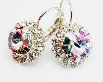 Purple Violet Earrings Rhinestone Drop Dangle Swarovski Crystal Earrings, Bridal Bridesmaids Earrings, Lavender Jewelry