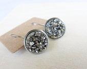 Shimmery Metallic Silver Faux Drusy Drop Earrings