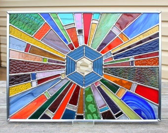 Multicolored Geometric Rays Stained Glass Panel