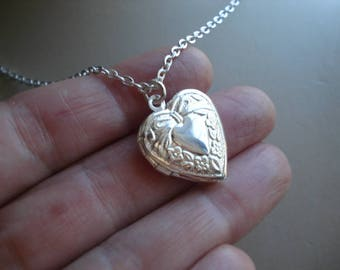 Silver Heart Locket Silver Heart Necklace Heart Locket Silver Locket Double Heart