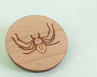 Huntsman Spider Brooch Wooden Science Pin Biology Jewellery Animal Jewelry