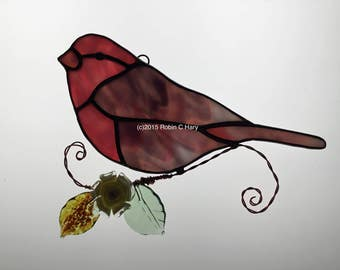 Purple Finch Suncatcher in Stained Glass