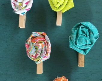 Brightly Colored Fabric flowered Clothespins